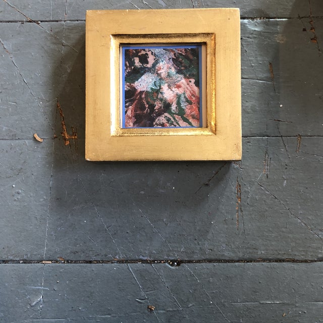 Original Vintage Miniature Abstract Oil Painting Italian Gilt Wood Frame For Sale - Image 4 of 4