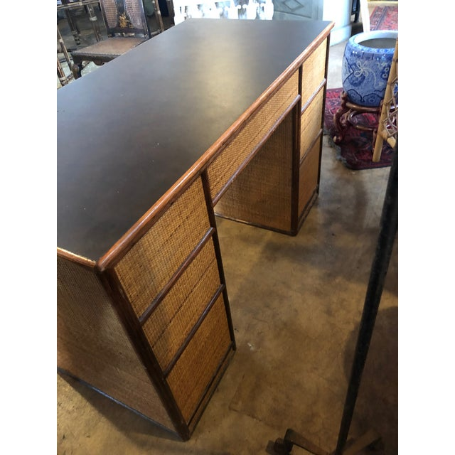 1990s Boho Chic Rattan Partner Desk For Sale - Image 4 of 8