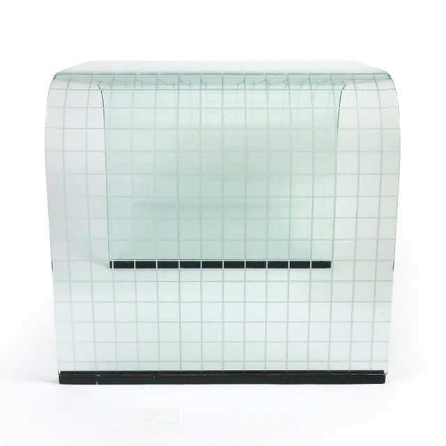 Glass Etched Glass Waterfall Table by Angelo Cortesi for Fiam For Sale - Image 7 of 9