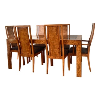 1970s Founders Hollywood Regency Burl Dining Set - 7 Pieces For Sale