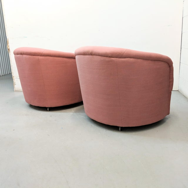 2000 - 2009 Modern Pink Barrel Back Lounge Chairs- A Pair For Sale - Image 5 of 12