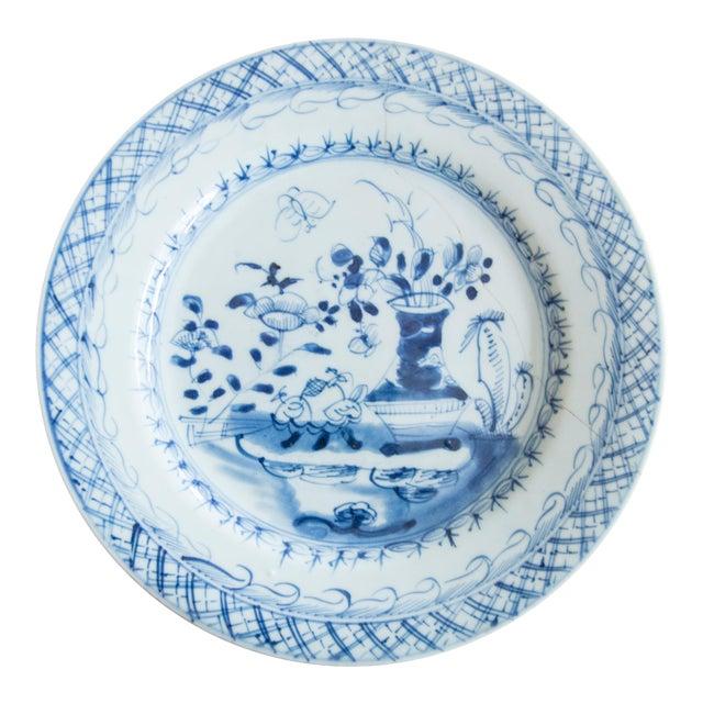 19th-Century Antique Delft Plate Staples Restoration For Sale