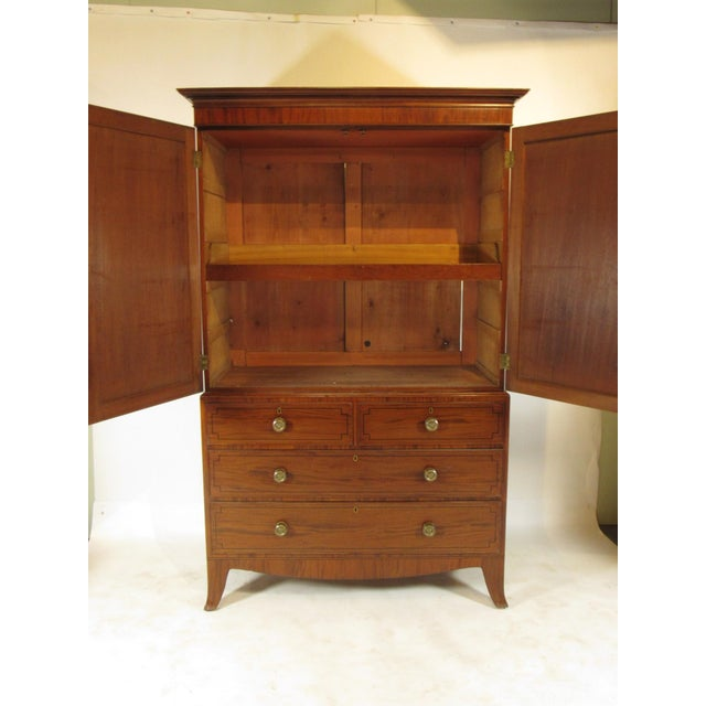 English Traditional 19th-C. Regency Inlaid Linen Press For Sale - Image 3 of 9