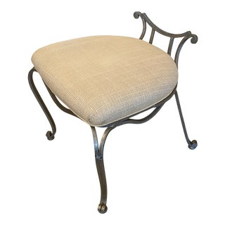 Transitional Silver Leaf and Grasscloth Vanity Bench For Sale
