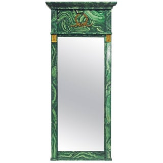 French Neoclassical Style Malachite Painted & Bronze Mounted Mirror