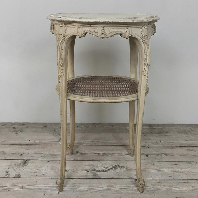 19th Century French Louis XVI Painted Oval End Table For Sale - Image 13 of 13