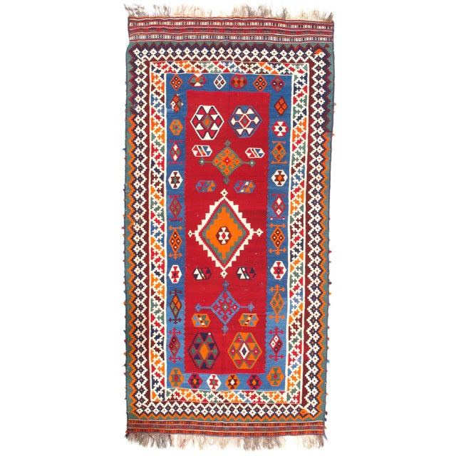 "2010s Pasargad Ny Antique Persian Shiraz Kilim Rug - 4'6"" X 9'6"" For Sale - Image 5 of 5"