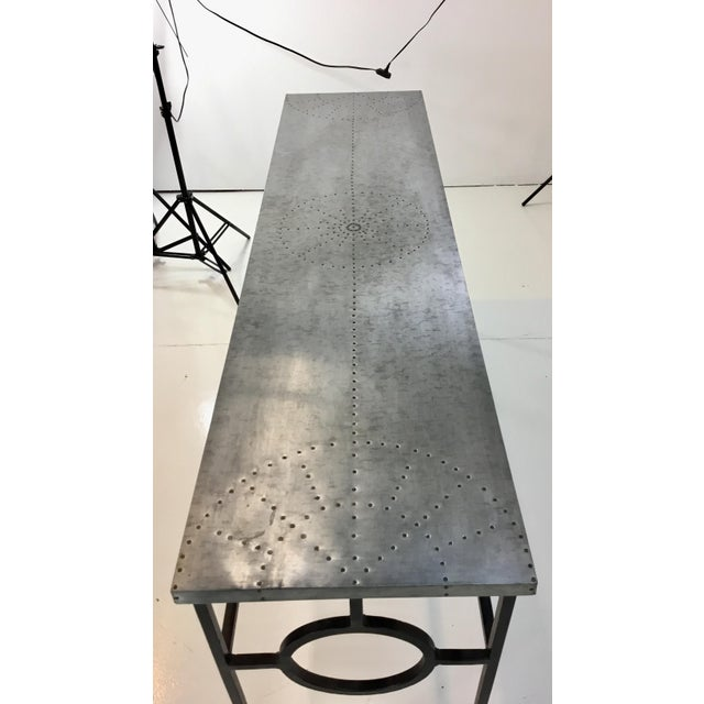 Industrial Industrial Modern Arteriors Westerly Iron and Metal Console Table For Sale - Image 3 of 5