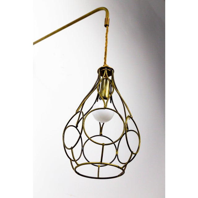 Gold Contemporary Long Arm Hanging Brass Cage Sconce With Circle Motif For Sale - Image 8 of 12