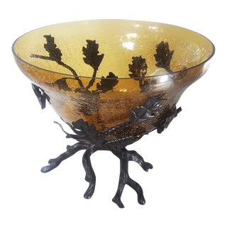 Amber Crackle-Glass Bowl on Bronze Tone Branch Metal Base