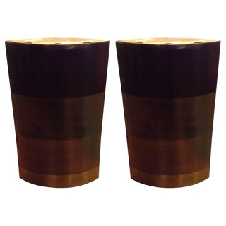 Michael Aram Large Patinated Brass Candleholders For Sale