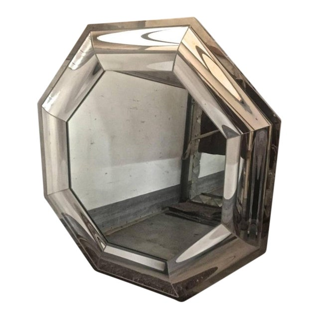 Andre Hayat Octagonal Steel Mercury Curved Glass Spectacular Exclusive Mirror For Sale