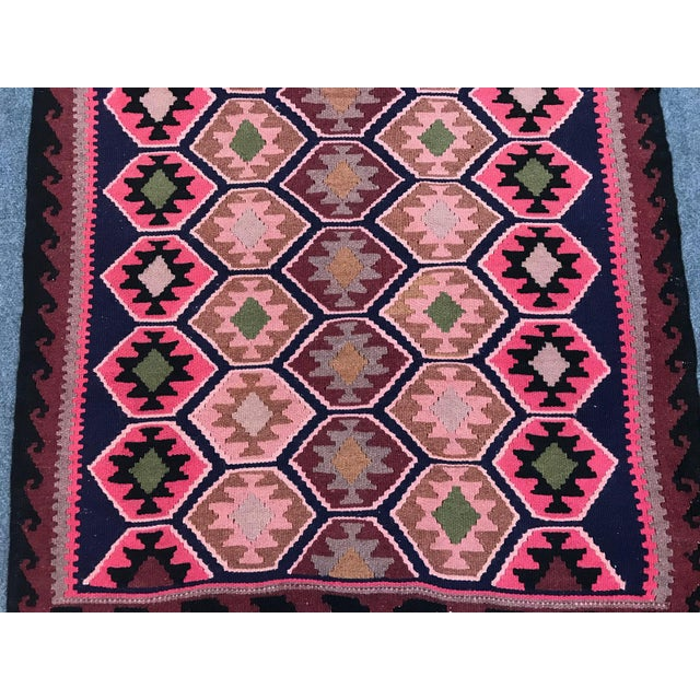 """Handmade Old Turkish kilim rug. Made in E Tukey. Material is sheep wool and hand spun wool. Size is 40"""" x 68"""" ---- 100 x..."""