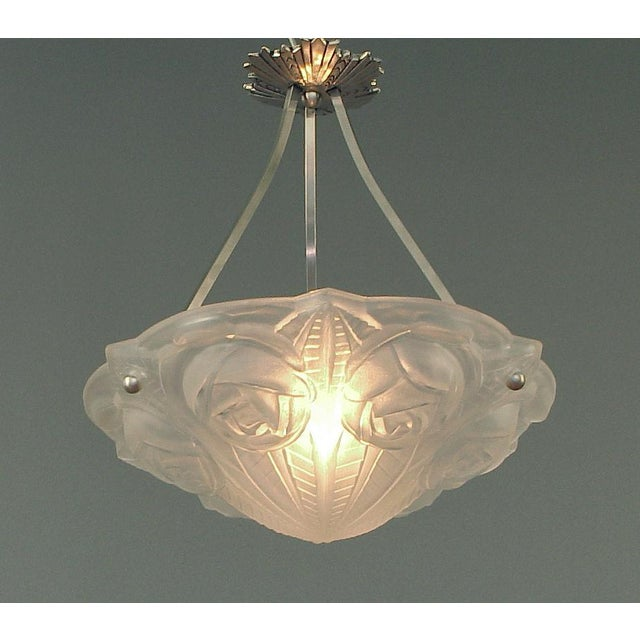 David Gueron Degue Ornate French Lighting Bowl - Pendant - by Degué, With Nickel-Plated Hanging Device For Sale - Image 4 of 4