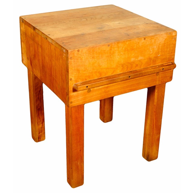 Butcher Block Table with Knife Rack - Image 1 of 5