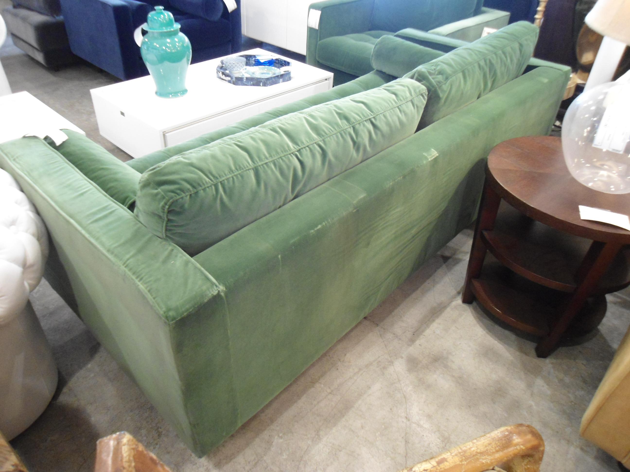 Grass Green Velvet Tufted Sofa For Sale   Image 4 Of 6