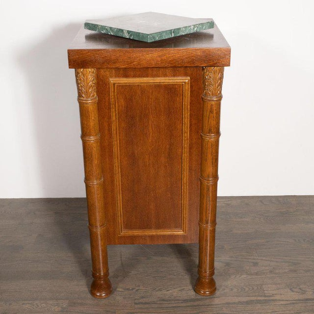 Art Deco Hand Rubbed Oak Pedestal With Exotic Green Rotating Marble Top For Sale - Image 4 of 9