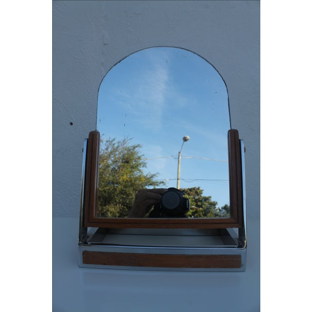 Silver Chrome & Wood Vanity Mirror For Sale - Image 8 of 8