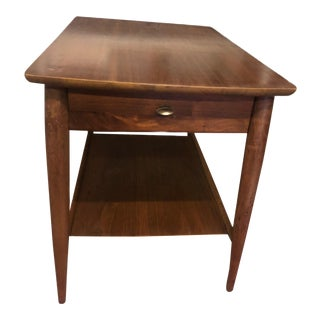 1960s Mid-Century Modern End Table With Single Drawer and Lower Shelf For Sale