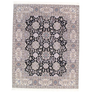21st Century Pasargad Ny Persian Hand-Knotted Lamb's Wool & Silk Rug - 6′5″ × 8′2″ For Sale
