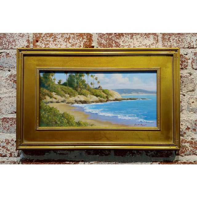 Blue David Chapple -Panoramic View of Laguna Beach California -Oil Painting For Sale - Image 8 of 8