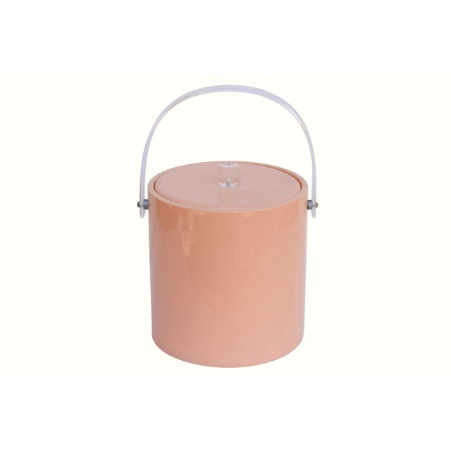1960s Mid Century Ice Bucket in Blush with Lucite Handle For Sale - Image 5 of 5