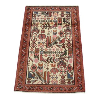 2'8 X 4'1 Vintage Hand-Knotted Persian Malayer Pictorial Rug, 1980s For Sale
