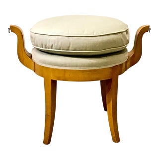 French Deco Vanity Stool in Sycamore For Sale