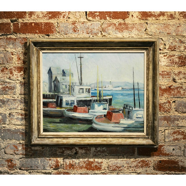 John Earle Coolidge - Boats at the La Harbor 1935 - Oil Painting For Sale - Image 9 of 9