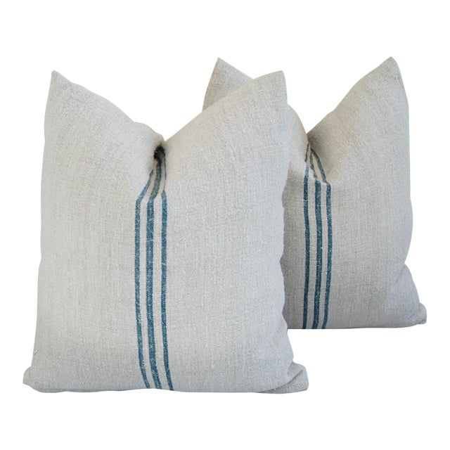 Blue Stripe French Grain Sack Pillows - Pair - Image 1 of 11