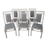 Image of Hollywood Regency Vintage Set of 6 White Painted Faux Bamboo Dining Chairs For Sale