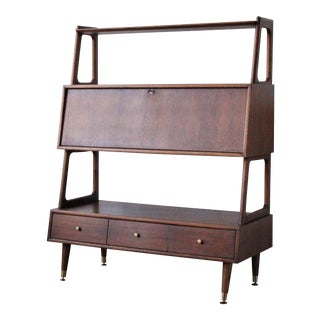 1950s Danish Modern Walnut Dropfront Etagere For Sale