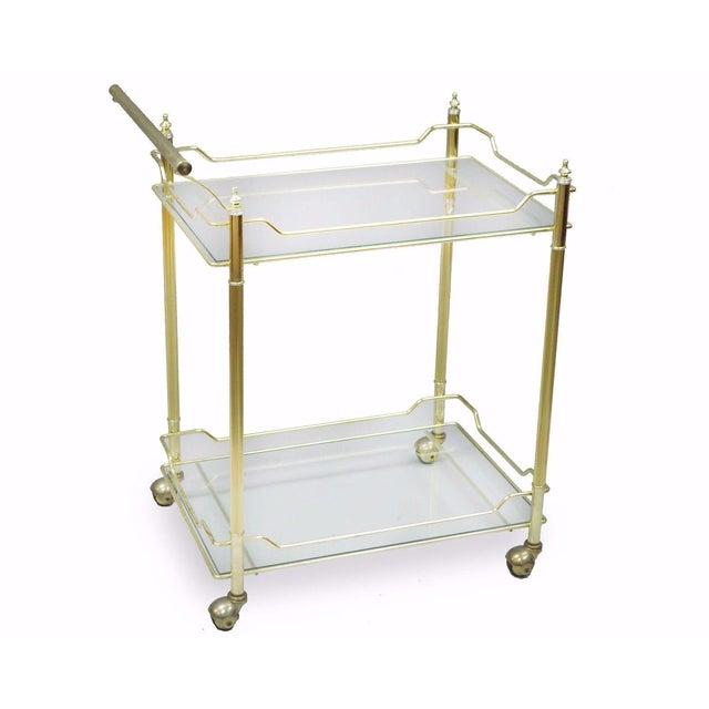 Mid Century Modern Brass Plated Metal & Glass Gold Rolling Bar Tea Cart - Image 11 of 11