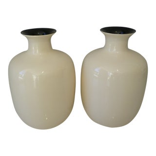 Large Ivory Lacquer Ware Vases For Sale