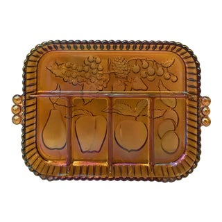 Vintage Opalescent Amber Fruit Tray For Sale