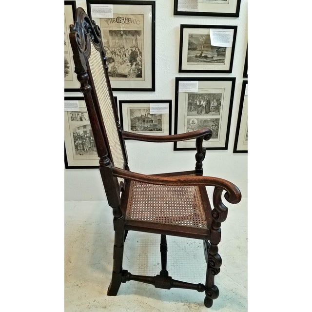 17th Century English William & Mary Oak and Cane Armchair For Sale - Image 12 of 13