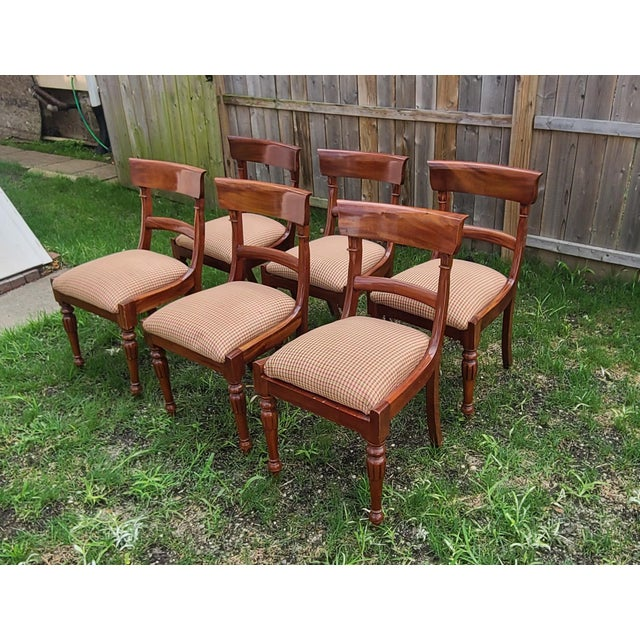 1990s 20th Century Reproduction Mahogany Empire Style Dining Room Chairs - Set of 6 For Sale - Image 5 of 13