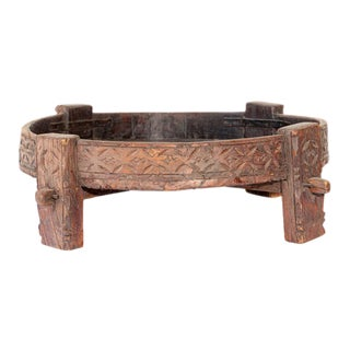 Mid 20th Century Carved Teak Tribal Low Table For Sale