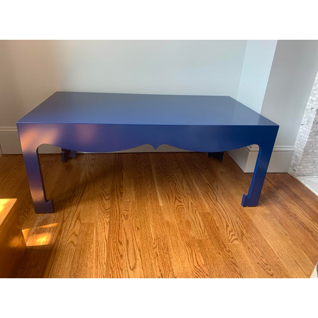 2000 - 2009 Art Deco Bungalow 5 Jordan Blue Lacquered Wood Coffee Table For Sale - Image 5 of 5