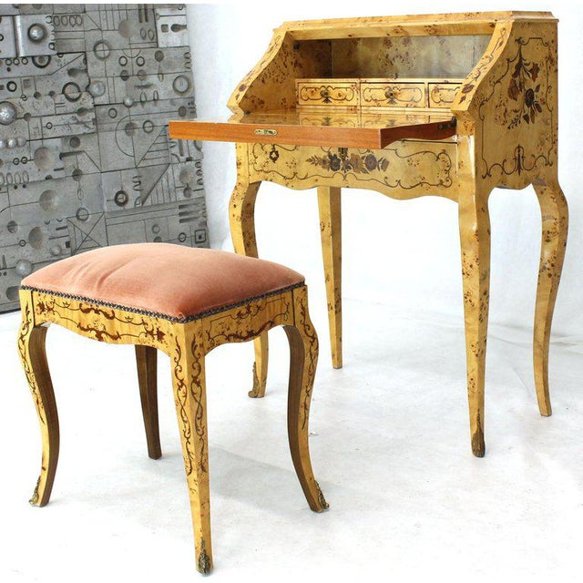 Italian Burl Wood Inlayed Drop Secretary Desk With Matching Bench Bronze Ormolu For Sale - Image 13 of 13