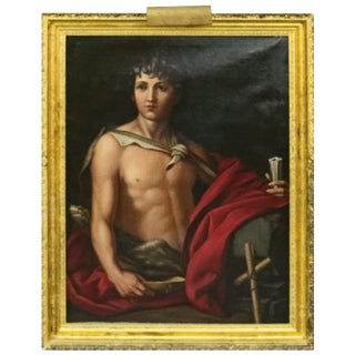 Late 19th Century Antique Italian Oil on Canvas Old Master of Del Sarto's John the Baptist Painting For Sale