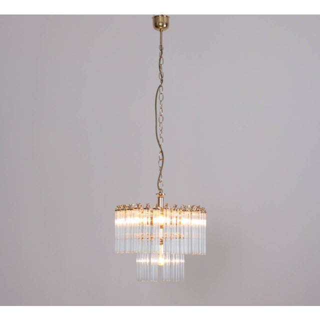 Metal Two-Tier Glass and Brass Chandelier in the Manner of Venini For Sale - Image 7 of 7