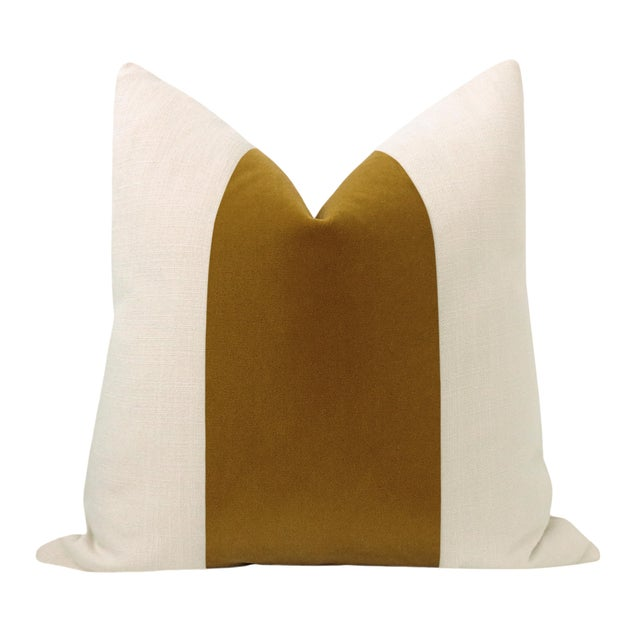 """Pair of beautiful 22"""" natural linen pillows with a tobacco mohair velvet center and solid natural linen reverse...."""