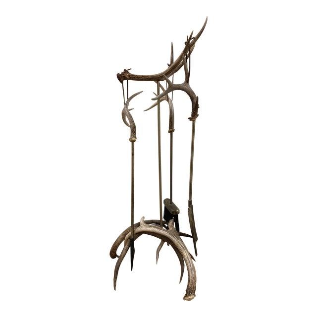 Custom Made Antler Fireplace Set For Sale