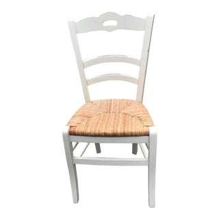 1990s Vintage Distressed White Rush Seat Chair For Sale