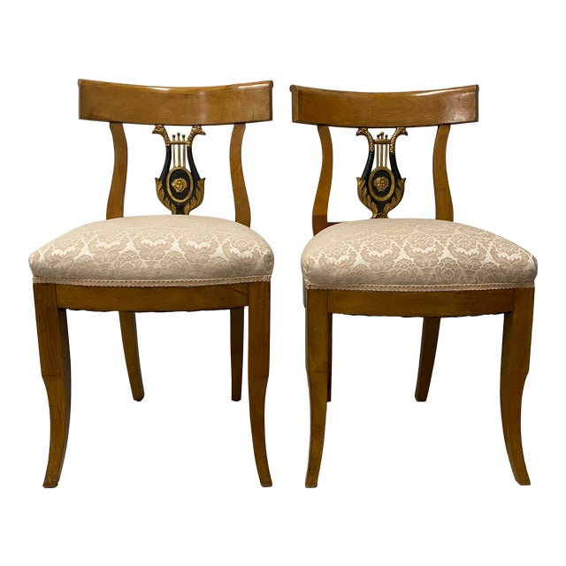 Pair of 19th Century Biedermeier Lyre Back Dining Chairs For Sale