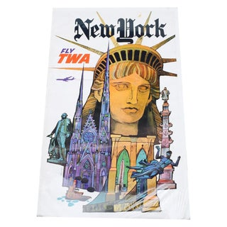 Vintage 1960's Twa New York Advertising Poster For Sale