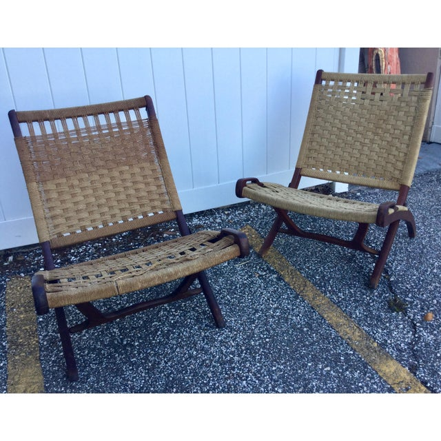 Hans Wegner Style Folding Rope Chairs - a Pair For Sale In Tampa - Image 6 of 9