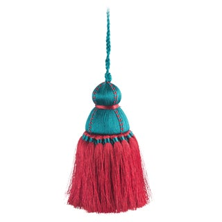 Pyar & Co. Trellis Home Tassel, Burgundy & Teal, Medium For Sale