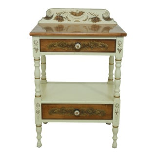 Hitchcock Paint Decorated 2 Drawer Nightstand For Sale